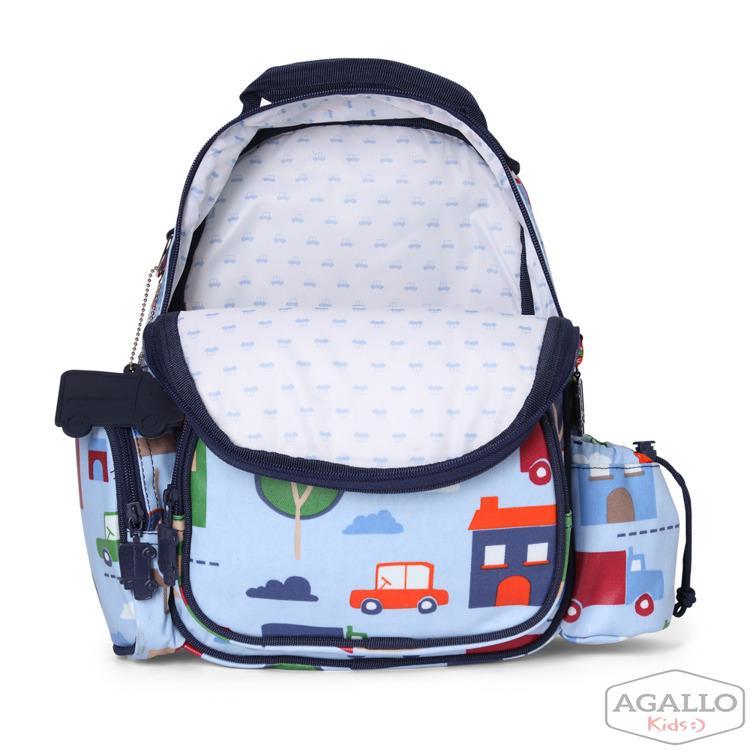 432035941c97d Mały plecak z kieszeniami niebieski w autka Penny Scallan 4843