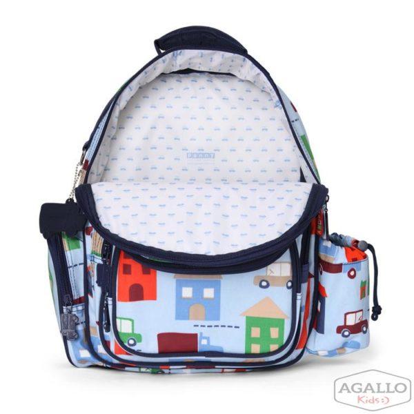 Duży plecak z kieszeniami niebieski w autka Penny Scallan 4829