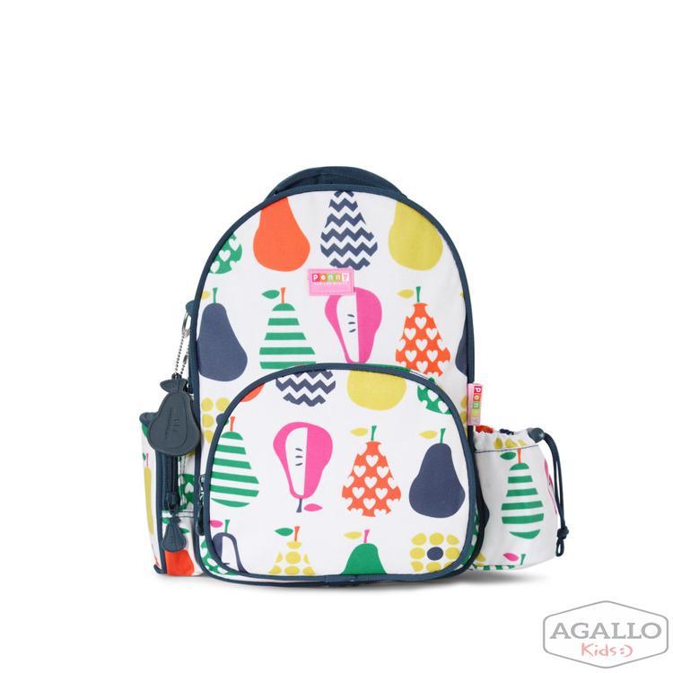 02af15c79ad58 Mały plecak z kieszeniami biało-granatowy w gruszki Penny Scallan 4837