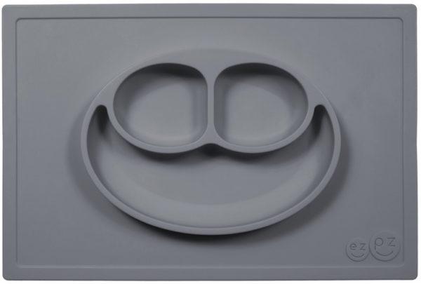 EZPZ Silikonowy talerzyk z podkładką 2w1 Happy Mat szary 6251