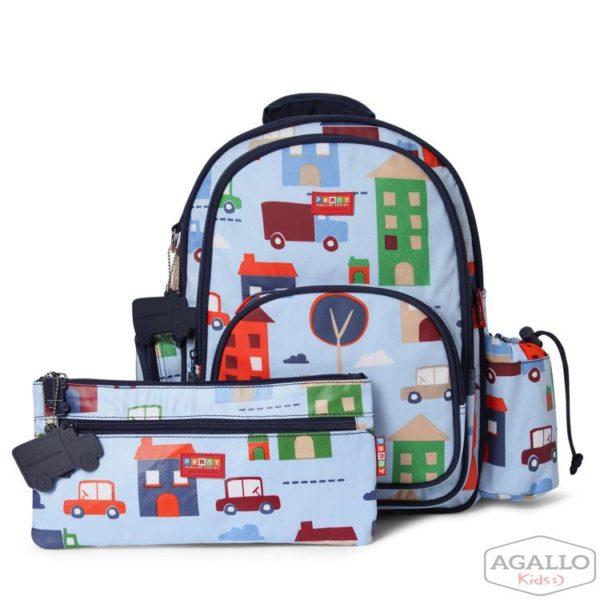 Duży plecak z kieszeniami niebieski w autka Penny Scallan 4830