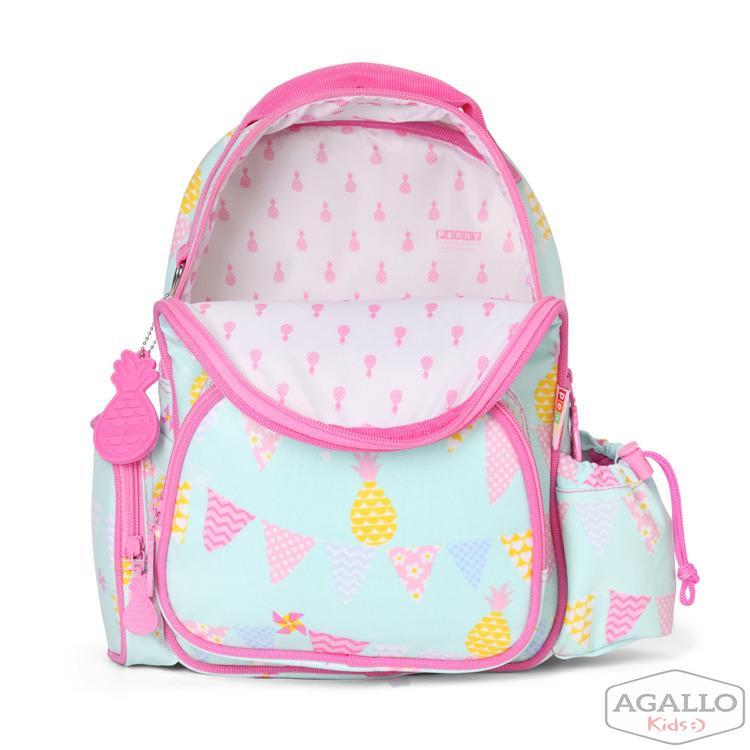 a392b70aae77c Mały plecak z kieszeniami miętowo-różowy w ananasy Penny Scallan 4841