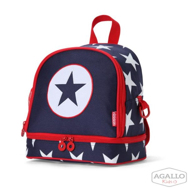 Plecak dla malucha z kieszenią na drugie śniadnie - granatowa w gwiazdy Penny Scallan 5017