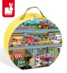 Puzzle w walizce Pojazdy 100 elementów, Janod 8479