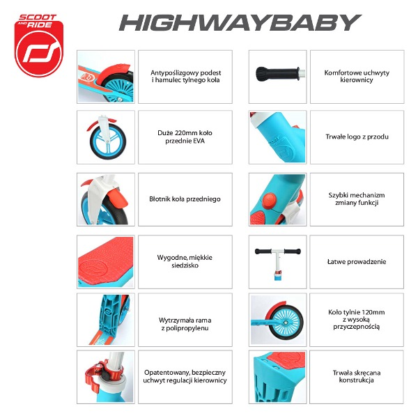 Highwaybaby 2w1 hulajnoga i rowerek 1+ Blue, Scootandride 8976